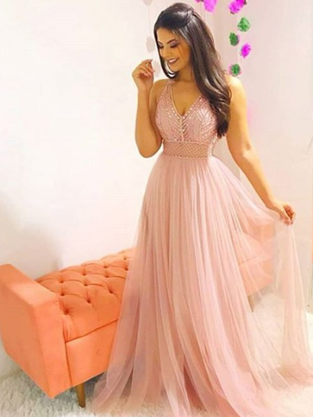 A-Line/Princess V-neck Sleeveless Sweep/Brush Train Crystal Tulle Dresses