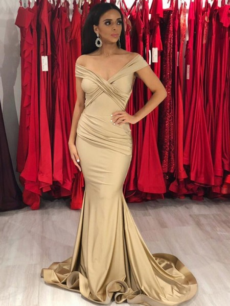 Trumpet/Mermaid Sleeveless Sweep/Brush Train Off-the-Shoulder Spandex Ruffles Dresses