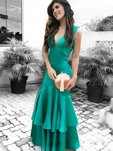 Sheath/Column V-neck Sleeveless Ruffles Floor-Length Satin Dress