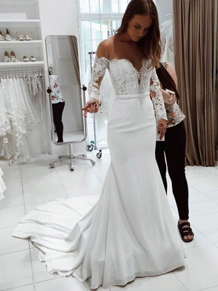 Trumpet/Mermaid Long Sleeves Off-the-Shoulder Court Train Lace Chiffon Wedding Dress