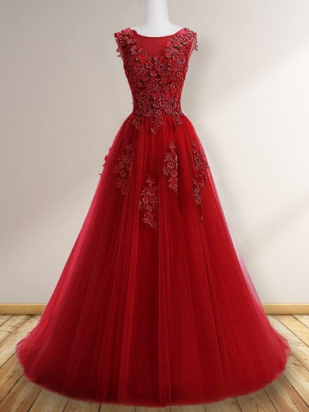 A-Line/Princess Scoop Sleeveless Floor-Length Tulle Applique Dress