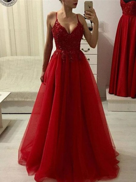 A-Line/Princess Spaghetti Straps Sleeveless Floor-Length Tulle Applique Dress