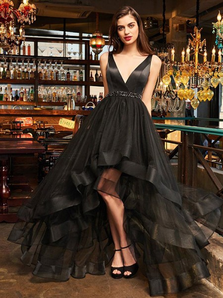 A-Line/Princess V-neck Sleeveless Asymmetrical Ruffles Organza Dress
