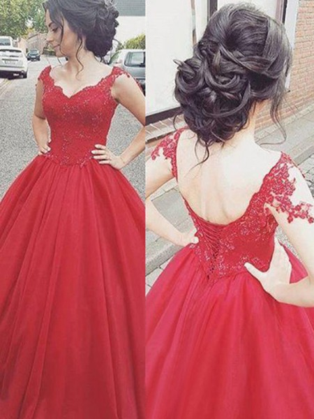 Ball Gown V-neck Sleeveless Floor-Length Applique Satin Dress