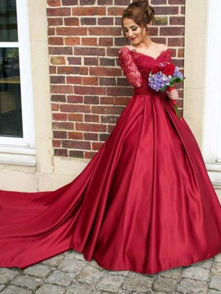 A-Line/Princess V-neck Long Sleeves Sweep/Brush Train Lace Satin Dresses