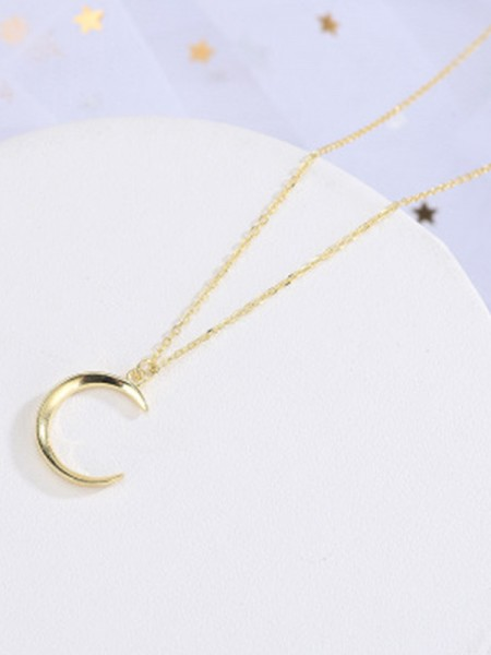 Korean New S925 Silver With Moon Necklaces