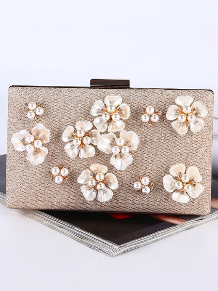 Graceful Pearl Party Handbags With Flowers