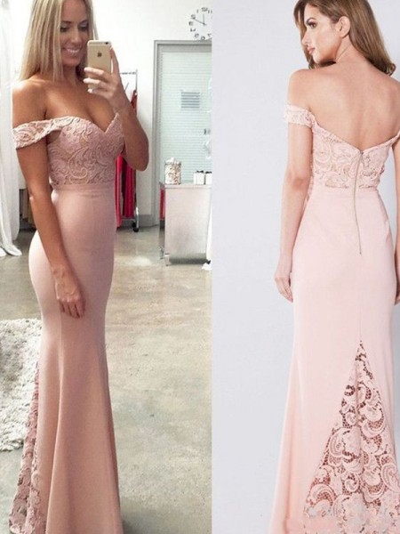 Sheath/Column Off-the-Shoulder Sleeveless Floor-Length Lace Spandex Dress