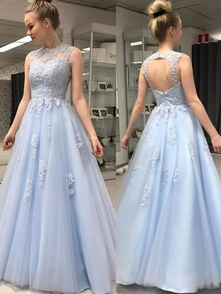 A-Line/Princess Sleeveless Sheer Neck Applique Floor-Length Tulle Dress