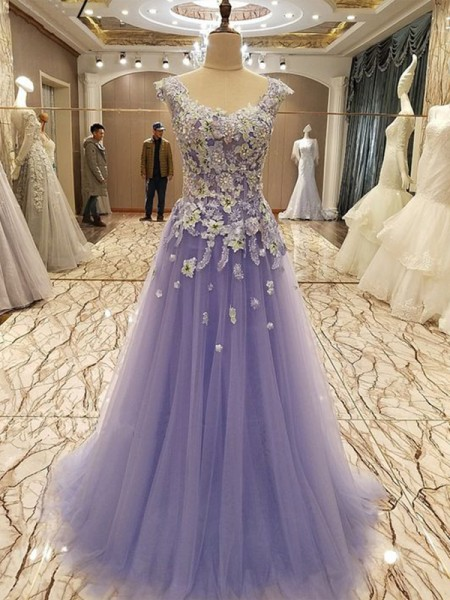 A-Line/Princess Sleeveless Scoop Applique Floor-Length Tulle Dress