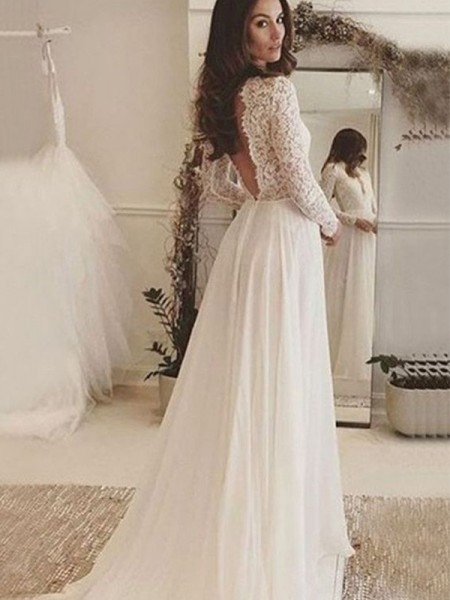 A-Line/Princess Chiffon Lace Scoop Long Sleeves Sweep/Brush Train Wedding Gowns