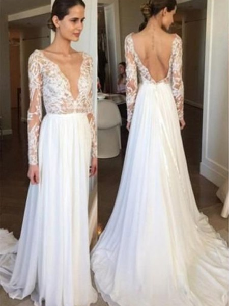 A-Line/Princess Chiffon Lace V-neck Long Sleeves Sweep/Brush Train Wedding Gowns