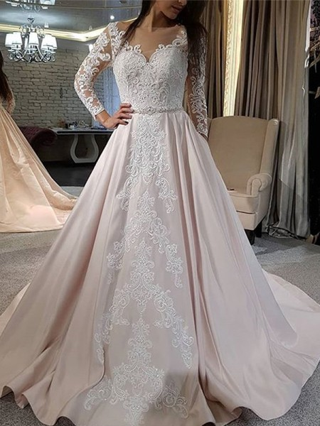 A-Line/Princess Satin Applique V-neck Long Sleeves Sweep/Brush Train Wedding Gowns