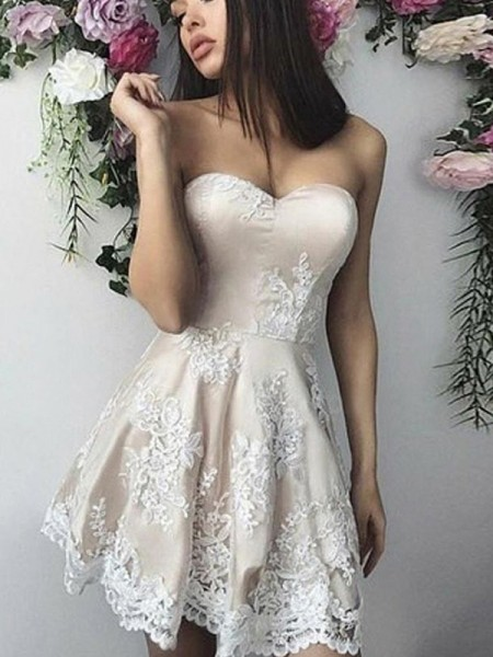 A-Line/Princess Lace Applique Sleeveless Short/Mini Dress