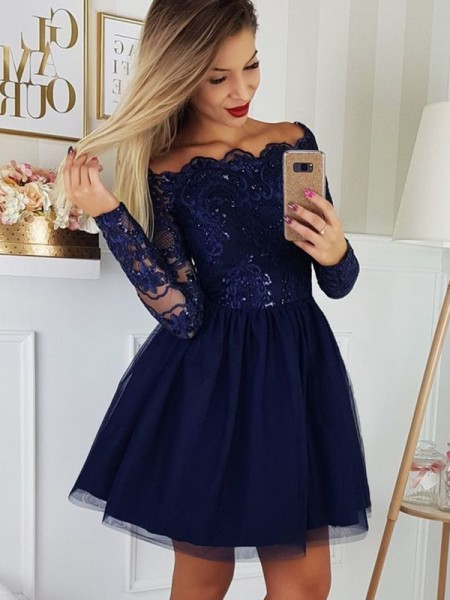 A-Line/Princess Tulle Applique Off-the-Shoulder Long Sleeves Short/Mini Dress