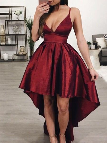 A-Line/Princess Satin Ruffles Spaghetti Straps Sleeveless Asymmetrical Short Dress