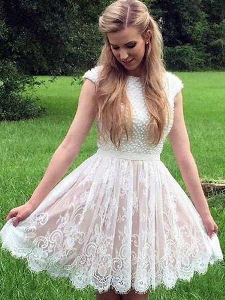 A-Line/Princess Lace Pearls Sheer Neck Sleeveless Short/Mini Dress