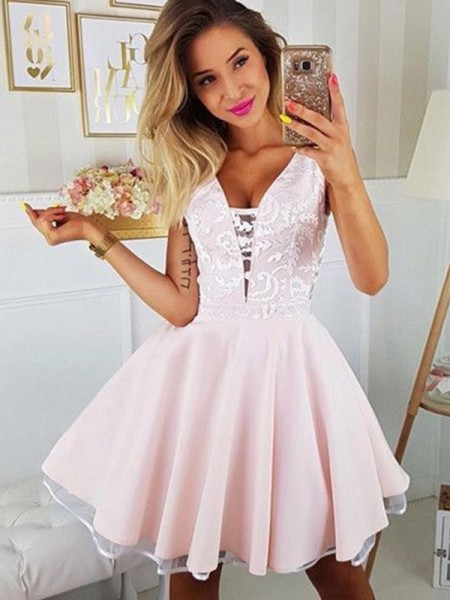 A-Line/Princess Satin Applique V-neck Sleeveless Short/Mini Dress