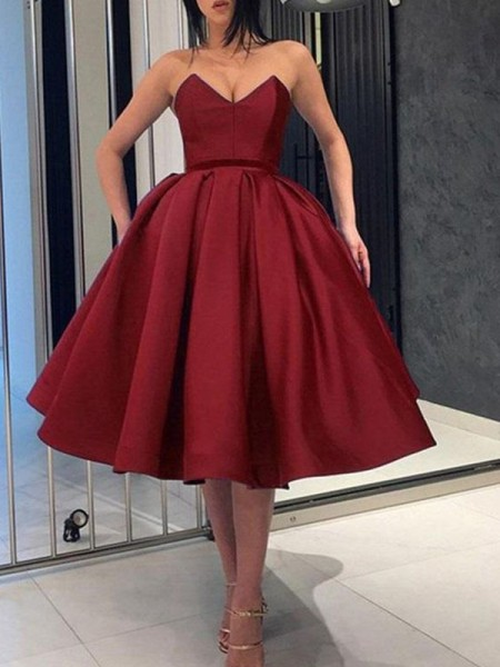 Ball Gown Satin Ruffles Sleeveless Knee-Length Short Dress