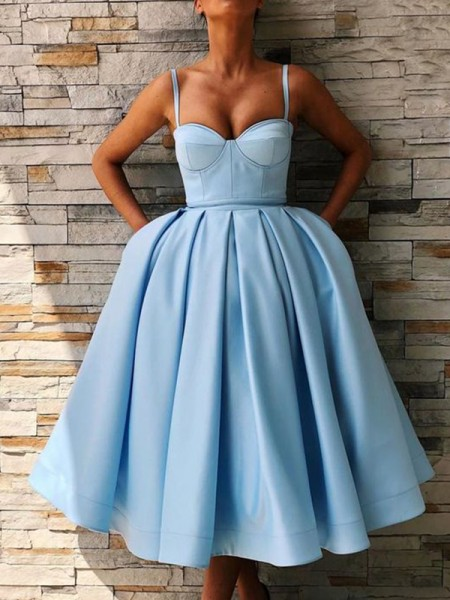 Ball Gown Satin Ruffles Spaghetti Straps Sleeveless Tea-Length Short Dress