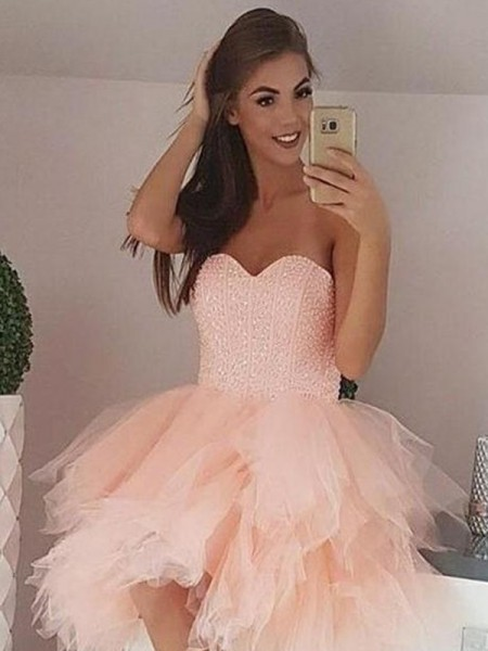 A-Line/Princess Tulle Beading Sleeveless Short/Mini Dress