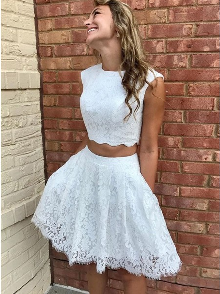 A-Line/Princess Lace Lace Scoop Sleeveless Short/Mini Dress