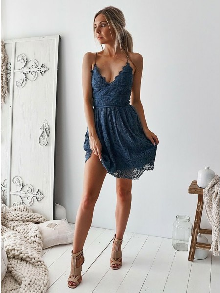 A-Line/Princess Lace Ruffles V-neck Sleeveless Short/Mini Dress