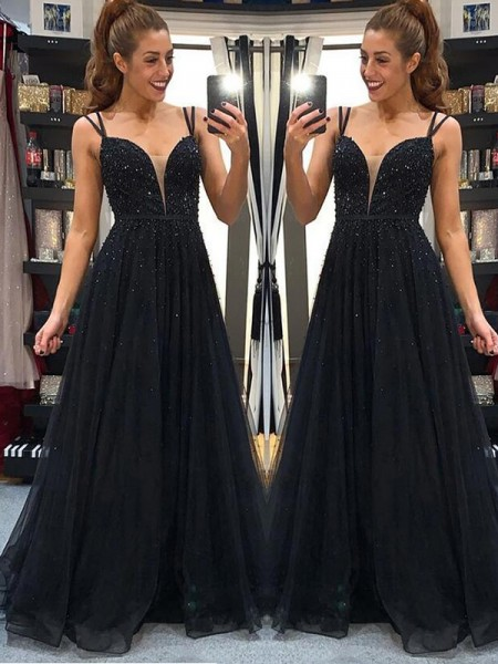 A-Line/Princess Tulle Beading Long Sleeveless Dresses