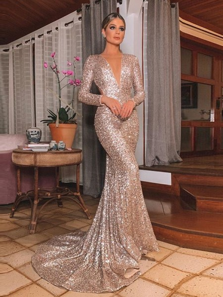 Trumpet/Mermaid V-neck Sequins Long Sleeves Sweep/Brush Train Ruffles Dresses