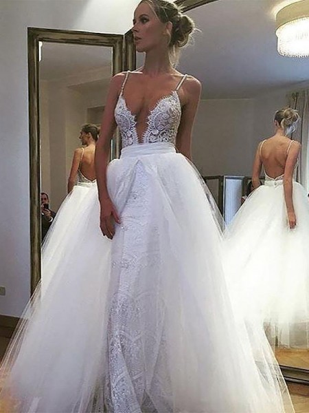A-Line/Princess Tulle Lace Spaghetti Straps Floor-Length Wedding Dress