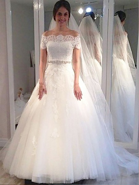 Ball Gown Off-the-Shoulder Tulle Sweep/Brush Train Wedding Dress