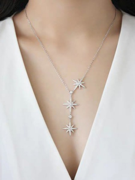 Brilliant 925 Sterling Silver With Star Ladies's Necklaces
