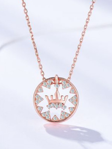 Fashion S925 Silver With Crown Ladies's Necklaces