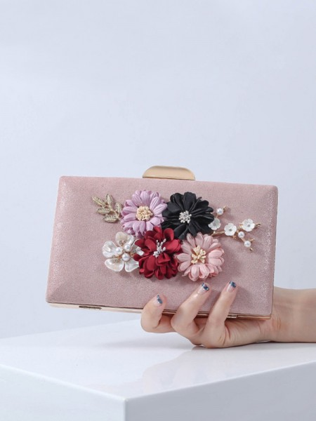 Pretty PU Party Handbags With Flowers
