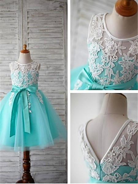 Ball Gown Scoop Bowknot Knee-Length Tulle Little Girl Dresses