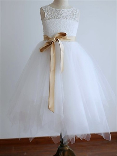 A-line/Princess Scoop Sash/Ribbon/Belt Tea-Length Tulle Baby Girl Dresses