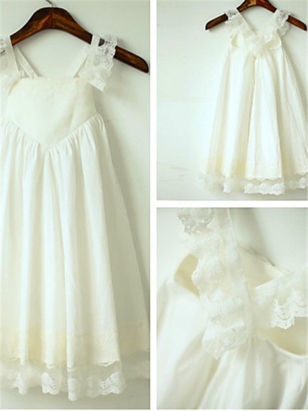A-line/Princess Straps Ruffles Tea-Length Chiffon Baby Girl Dresses