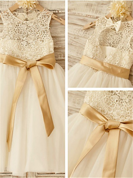 A-line/Princess Scoop Bowknot Knee-Length Tulle Little Girl Dresses