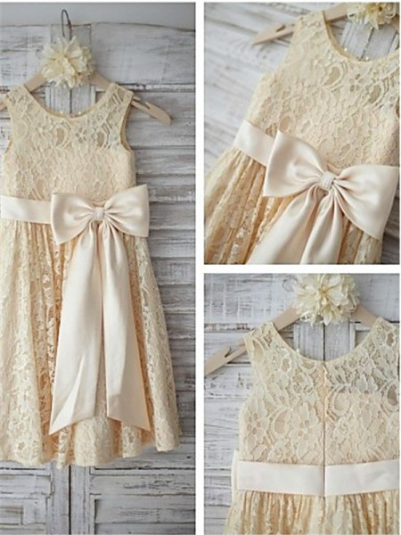 A-line/Princess Scoop Bowknot Knee-Length Lace Little Girl Dresses