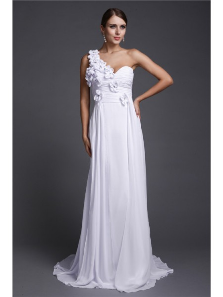 A-Line/Princess One Shoulder Chiffon Dress
