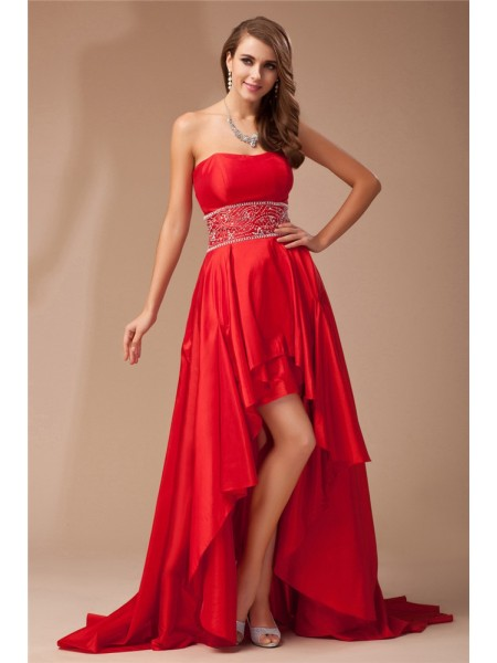 A-Line/Princess Strapless High Low Taffeta Dress
