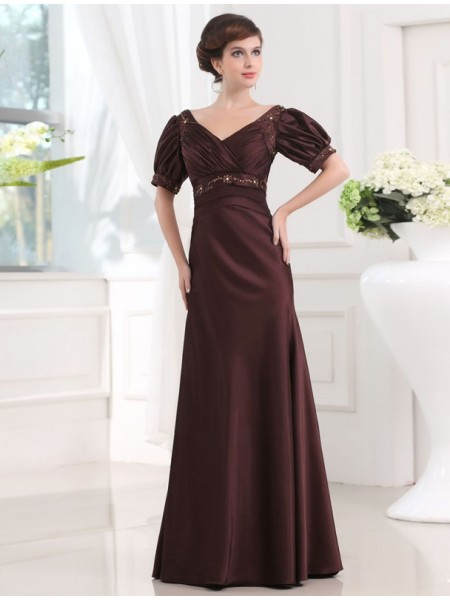 Sheath/Column V-neck 1/2 Sleeves Long Satin Dress
