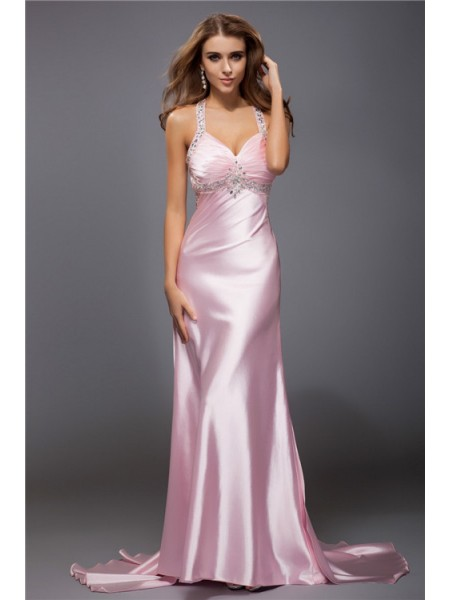 Sheath/Column Spaghetti Straps Long Elastic Woven Satin Dress