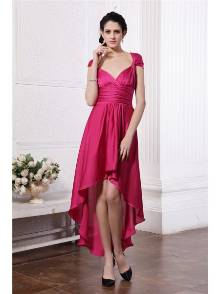 Sheath/Column Pleats High Low Chiffon Straps Damask Cocktail Dress