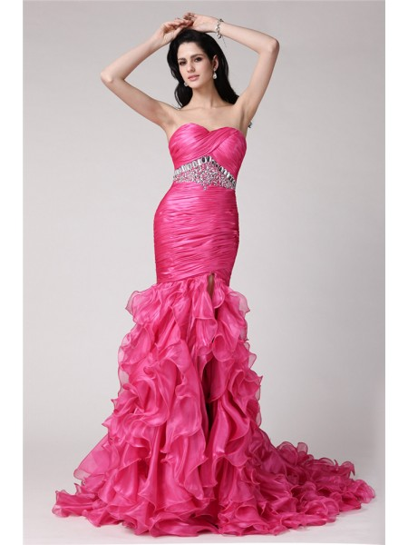 Trumpet/Mermaid Sweetheart Rhinestone Long Organza Dress