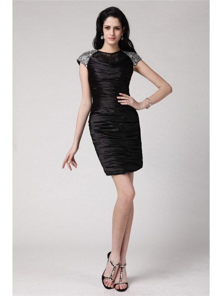 Sheath/Column Scoop Lace Short Elastic Woven Satin Cocktail Dress