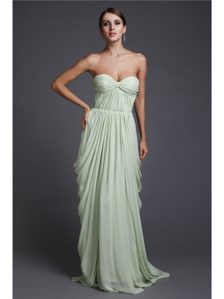 Sheath/Column Sweetheart Ruffles Chiffon Dress