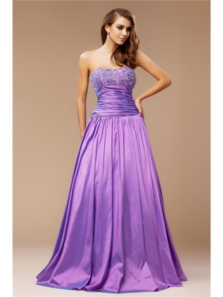 A-Line/Princess Strapless Long Taffeta Dress