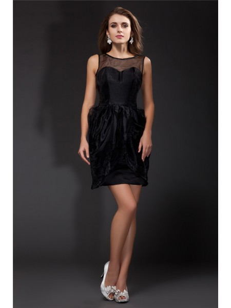 A-Line/Princess Scoop Ruffles Organza Cocktail Dress