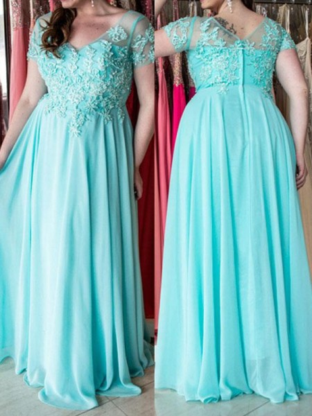 A-Line/Princess Sweetheart Applique Floor-Length Chiffon Plus Size Dress